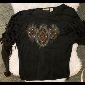 Miss me size small black  fringe rodeo shirt